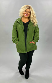 OT-L {Comfy Chic}  SALE!! Light Olive Hoodie Jacket Full Zipper PLUS SIZE 1X 2X 3X