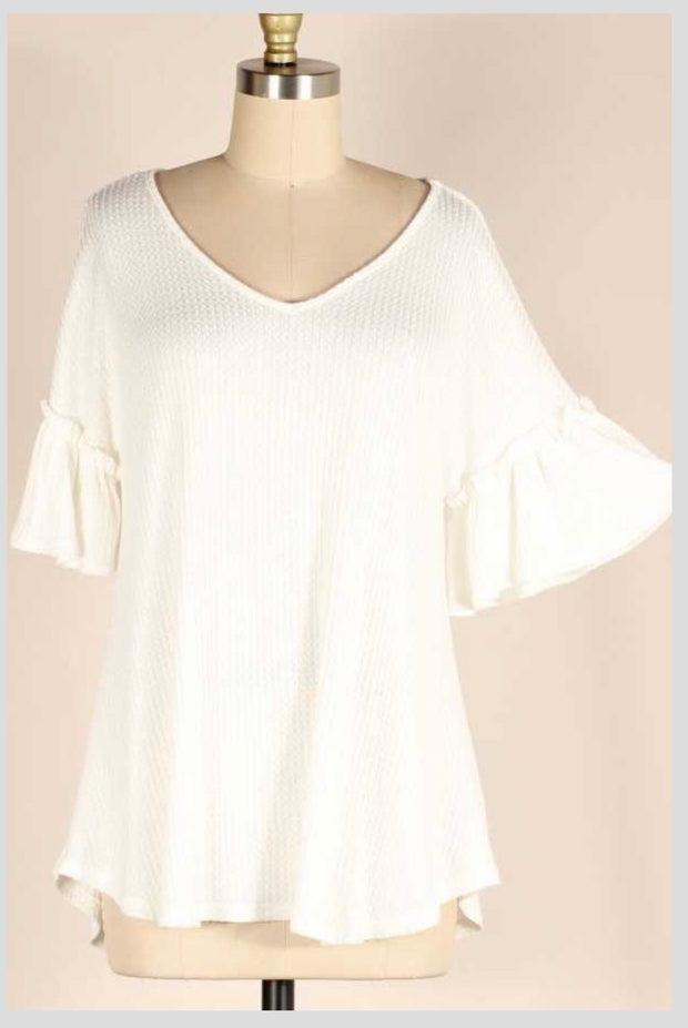 SQ-N {Ivory Tower} Ivory Waffle Knit V-Neck Tunic PLUS SIZE 1X 2X 3X