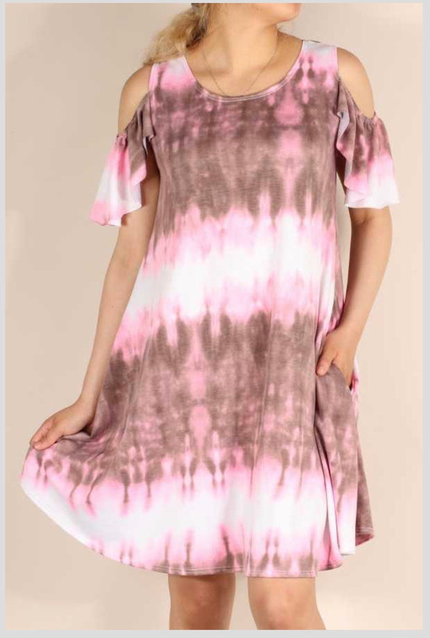 OS-T {Little Moment} Pink/Brown Tie Dye Cold Shoulder Dress PLUS SIZE 1X 2X 3X SALE!!