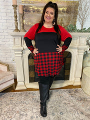 11-10 CP-C {On Call} Red Black Plaid Tunic CURVY BRAND EXTENDED PLUS SIZE 3X 4X 5X 6X