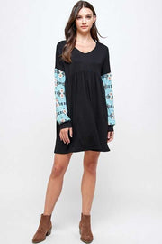 12 CP-C {Just Admit It} Black With Blue Aztec Sleeve Tunic PLUS SIZE XL 2X 3X