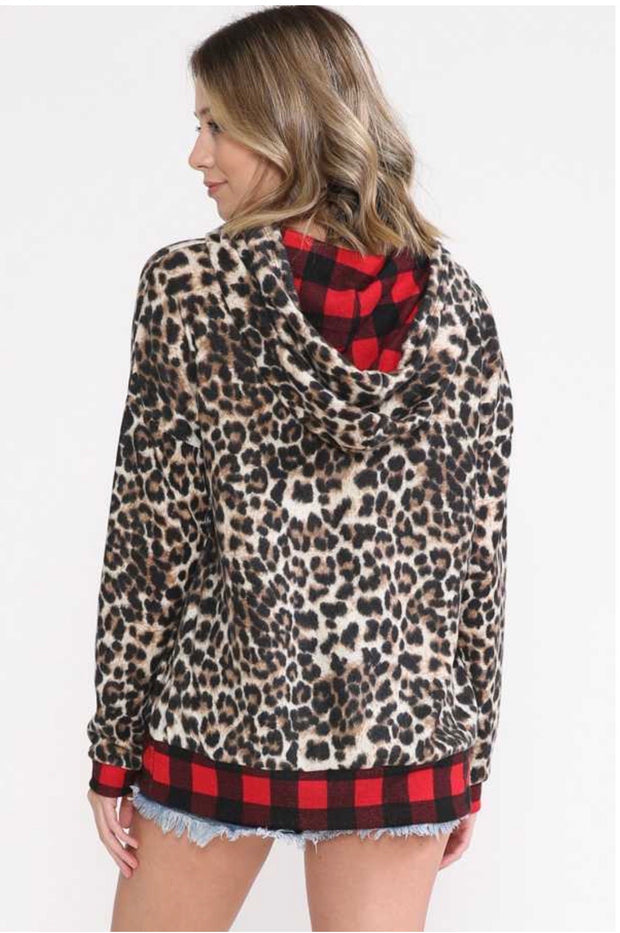 17 HD-C {Lost At Night}  SALE!! Leopard With Red Plaid Contrast Zip Up PLUS SIZE XL 2X 3X