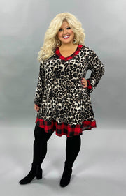 32 CP-D {Fierce Wild} Brown Leopard Red Plaid Knit Tunic CURVY BRAND EXTENDED PLUS SIZE 3X 4X 5X 6X