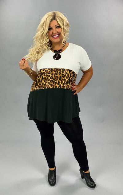 CP-R {In The Wild} Ivory Gold Leopard Black Contrast Print Tunic BUTTER SOFT PLUS SIZE 1X 2X 3X