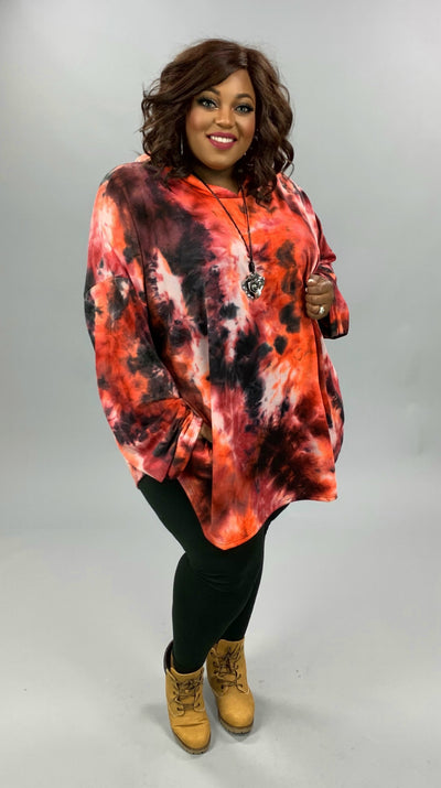HD-W {Must Be Love} Red Orange Black Tie Dye Hoodie EXTENDED PLUS SIZE 4X 5X 6X