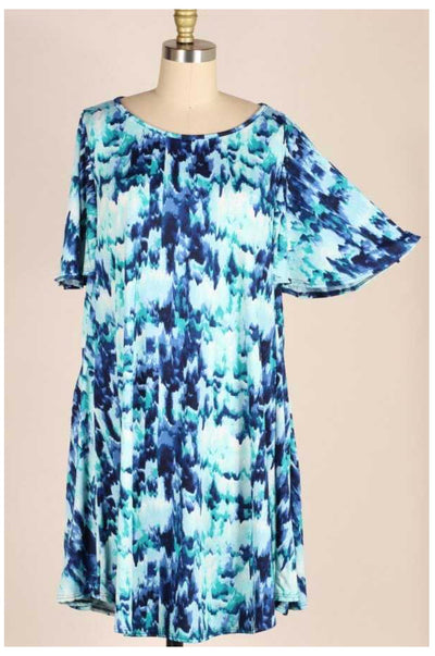PSS-E (Summer Sky ) Watercolor Printed Dress W/ Pockets EXTENDED PLUS 3X 4X 5X