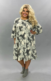 PQ-S {Campfire Nights} Charcoal Tie Dye Knit Dress EXTENDED PLUS SIZE 4X 5X 6X