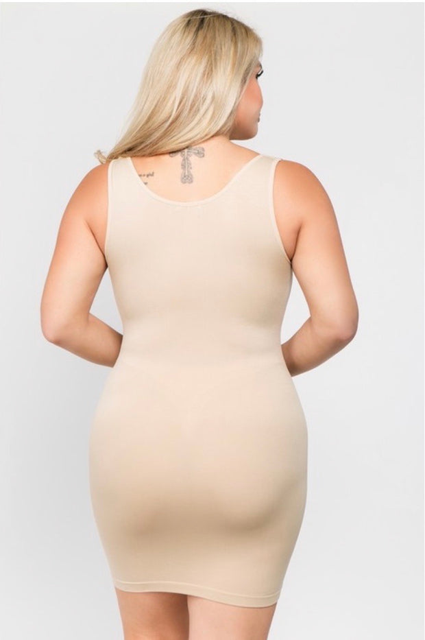 TK- {Shapely Support} Extra Long *NUDE* Spandex Tank  PLUS SIZE