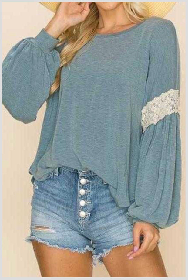 20 SD-A {Fall Tradition}  SALE!! Dusty Blue Crochet Detail Top PLUS SIZE XL 2X 3X