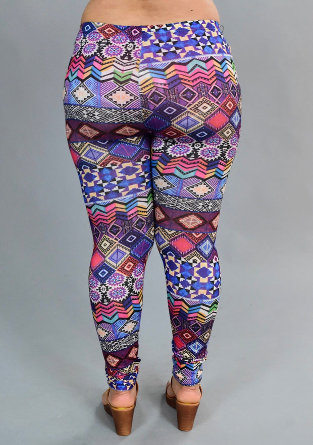 "LEG/BT ""OYA"" Multi-Print (Poly/Spandex) Leggings--s"