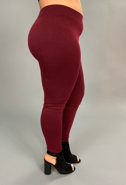 "LEG/C- ""ROSIO"" Burgundy Soft French-Terry Leggings"