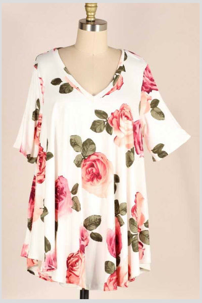 PSS-A {Buy Me A Rose} Pink Floral Tunic EXTENDED PLUS SIZE 3X 4X 5X