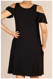 OS-B {Perfect Vacation} Black Open Shoulder Dress W/Pockets