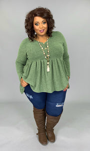SLS-R {Lead The Way} Olive Soft Knit Tunic with Buttons  SALE!!
