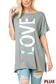 "47 GT-B {Live In Love} Grey Silver ""Love"" Graphic Tee  PLUS SIZE XL 2X 3X"