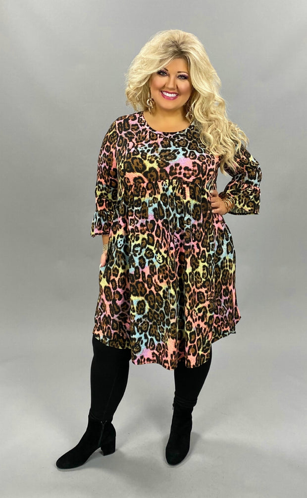 11-14 PQ-A {What I Like} Multicolored Leopard Dress PLUS SIZE XL 2X 3X