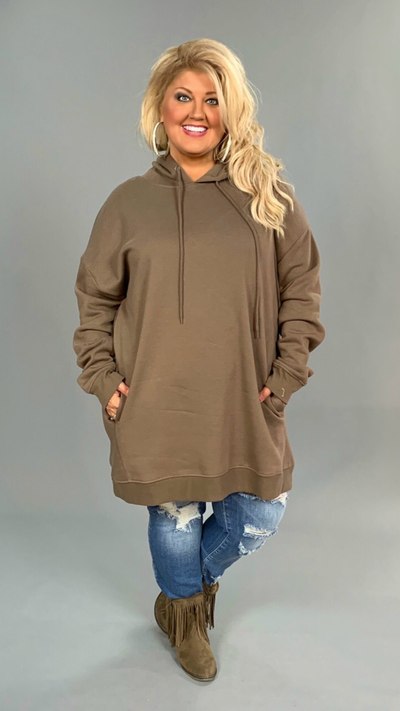 HD-O {Having A Blast} MOCHA Long Hoodie with Pockets SALE!