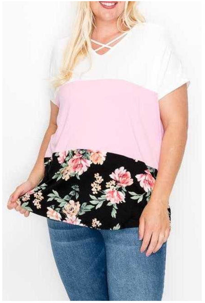 65 CP-J {Simple Desires} Ivory Pink Floral Contrast Tunic EXTENDED PLUS SIZE 4X 5X 6X