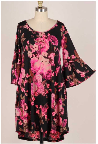 45 PQ-G {I Don't Know What Love Is} Pink/Black Floral Dress Plus Size 1X 2X 3X