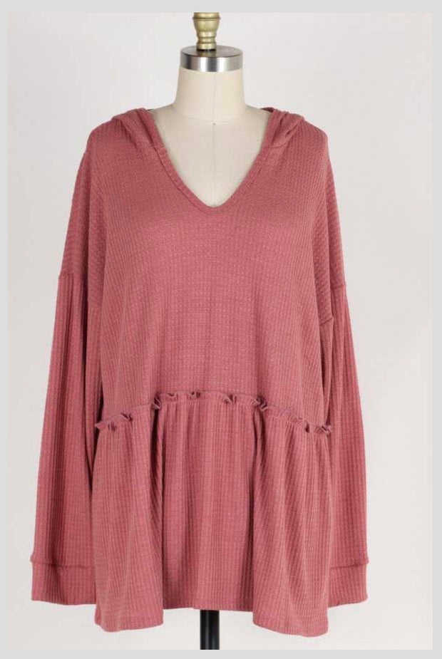 HD-Q {Easy Living} Mauve Waffle-Knit V-Neck Tunic w/ Hood Extended Plus