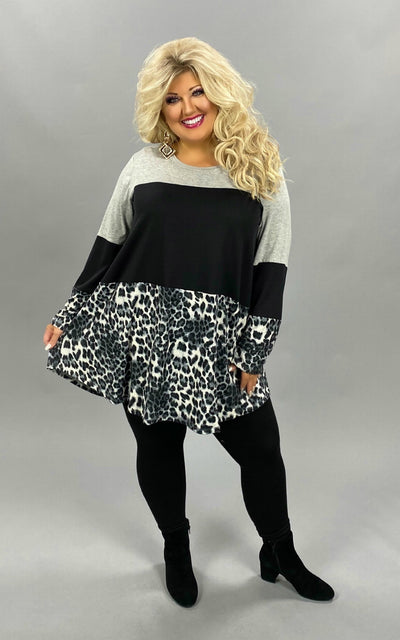 27 CP-B {Save The Day} Sale!! Grey Black Leopard Tunic CURVY BRAND EXTENDED PLUS SIZE 3X 4X 5X 6X