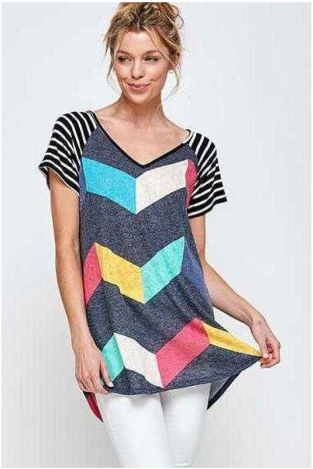 61 CP-A {Steal Me Away} Knit V-Neck Top with Chevron Print PLUS SIZE 1X 2X 3X