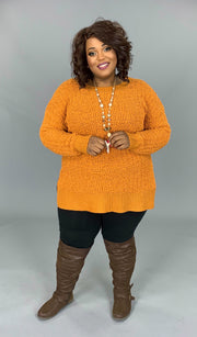 SLS-A {Simple Solution}  SALE!!  Camel Popcorn Sweater with Split Sides SALE!!