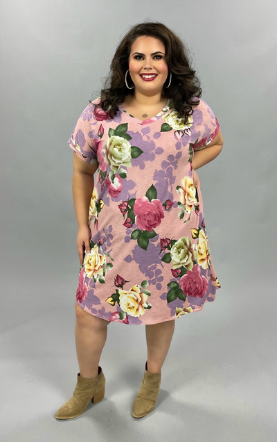 48 PSS-E {Full Of Cheer} SALE!!  Pink Purple  Floral V-Neck Dress PLUS SIZE XL 2X 3X