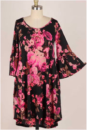 33 PQ-H {Notice your Style} Black Hot Pink Floral Bell Sleeve Dress Plus Size 1X 2X 3X