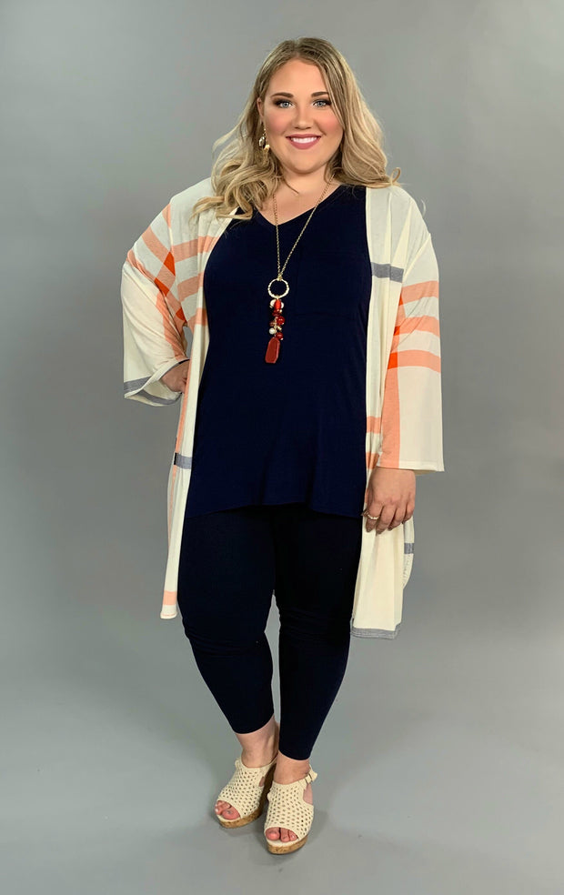 OT-Z {Life Goes On} Ivory Cardigan with Navy & Coral Print