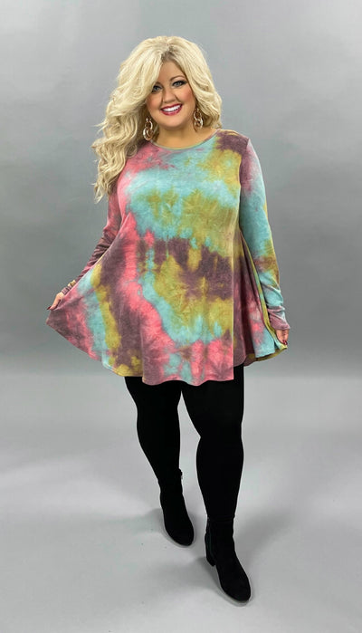 34 PLS-H {Live To Shine} Purple Blue Tie Dye Long Sleeve Top EXTENDED PLUS SIZE 3X 4X 5X