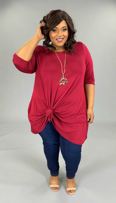 SQ-N (Simple Comforts) Solid Burgundy Dress With Pockets EXTENDED PLUS