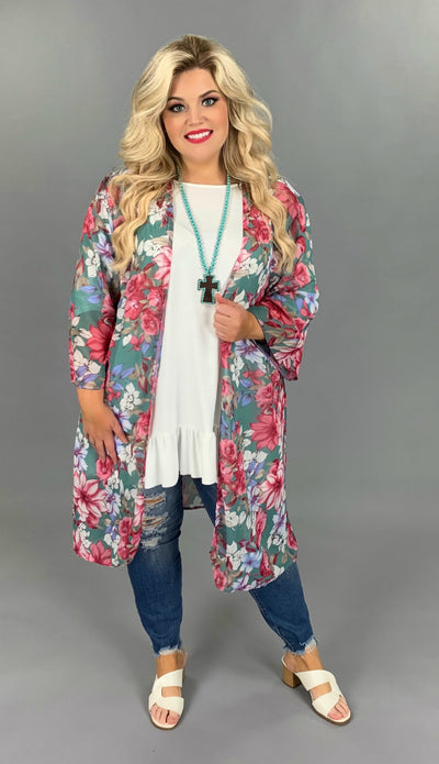 OT-S {Mother Earth} Sheer Sage/Rose/Lilac Floral Cardigan PLUS SIZE 1X 2X 3X