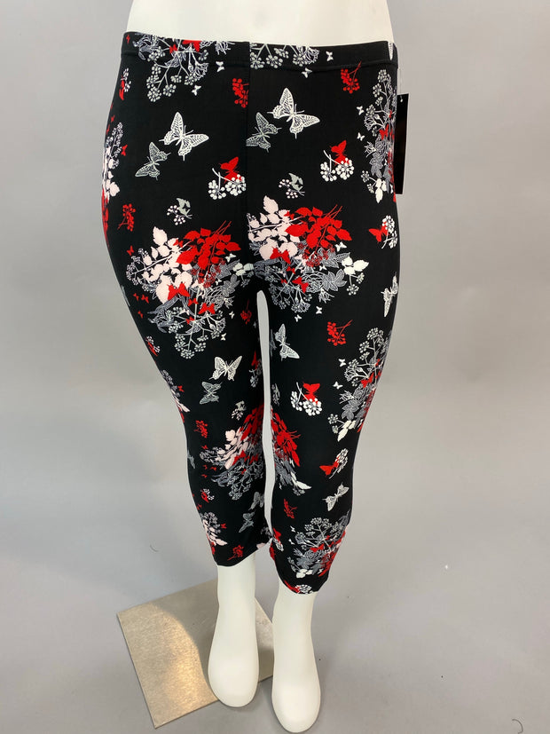 Leg-14 You Make My Heart Flutter} Multi Print Capri Leggings EXTENDED PLUS SIZE 3X/5X