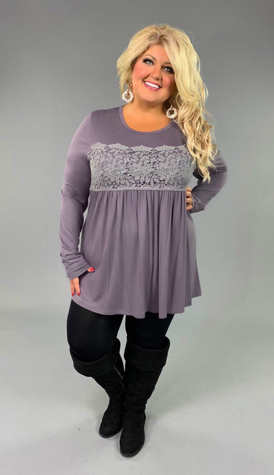 CP-F {Attention To Detail} Lilac/Gray Top with Crochet Detail