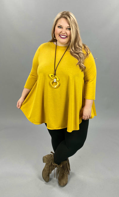 11-13 SLS-K {Simple Day} Mustard Solid Tunic EXTENDED PLUS SIZE 3X 4X 5X