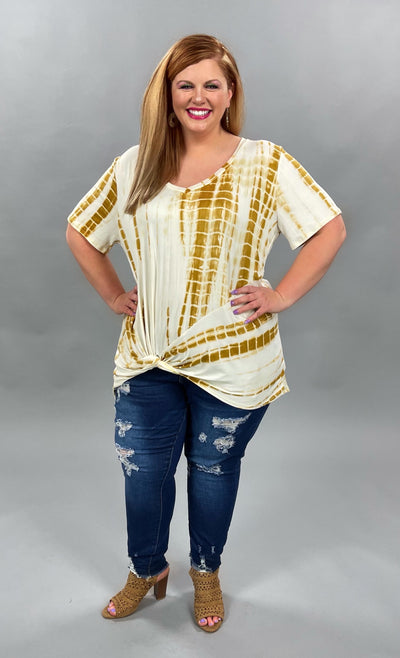 63 PSS-E {Not That Type} Gold Bamboo Tie-Dye Top EXTENDED PLUS SIZE 3X 4X 5X