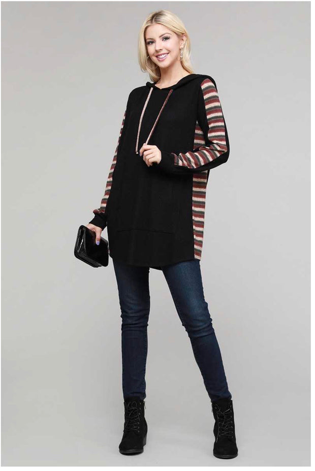 25 HD-K {The Night Out} SALE!!  Black Brown Green Stripe Sleeve HoodiePLUS SIZE XL 2X 3X
