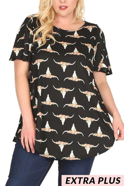 PSS-K/Z{Long Ride Home} Black Floral/Bull Print Top EXTENDED PLUS SIZE 3X 4X 5X