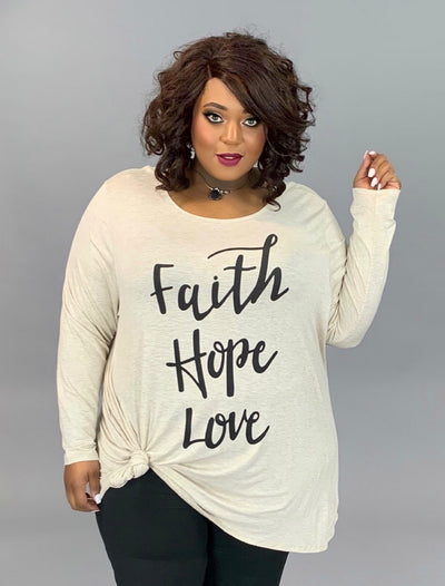GT-Y {Faith, Hope & Love} Oatmeal Graphic Tee EXTENDED PLUS SIZE 3X 4X 5X 6X