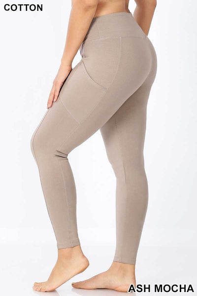 LEG-Q {Walk Away} Taupe Wide Waistband Full Length Leggings PLUS SIZE 1X 2X 3X