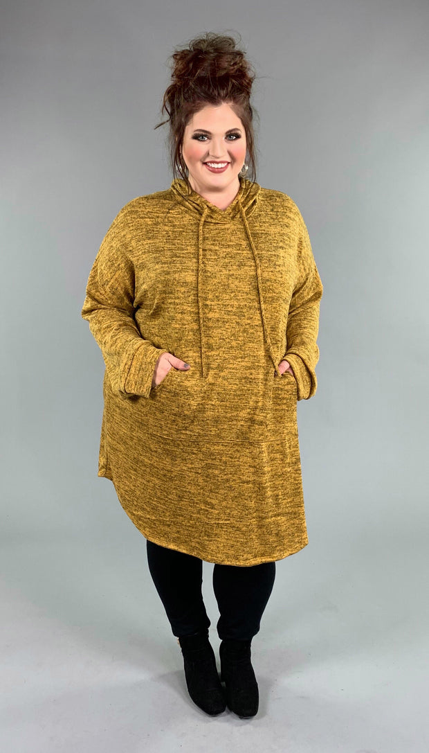 HD-S {Live It Up} Heathered Gold Stretchy Knit Long Hoodie Extended Plus SALE!!