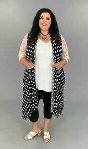 OT-R {Spotted You In The Crowd) Black Polka-Dot Vest PLUS SIZE 1X 2X 3X