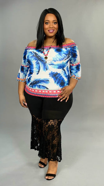 "PQ-T ""Flying Tomato"" Feather Print Top with 3/4 Sleeves"