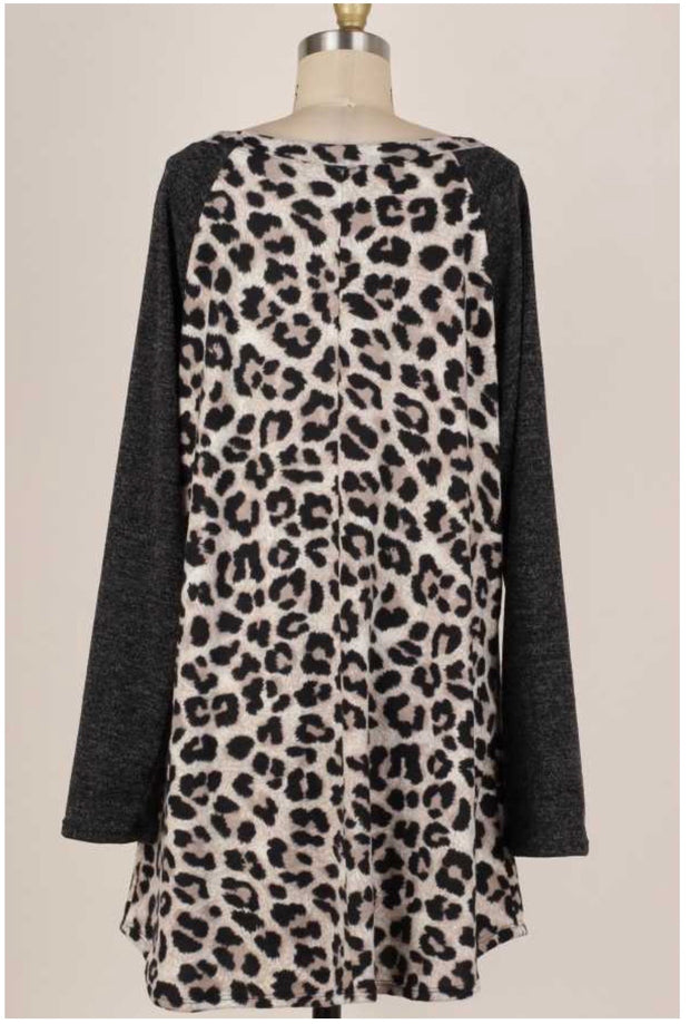 14 CP-G {Shades Of Grey} Grey Black Leopard Tunic EXTENDED PLUS SIZE 4X 5X 6X