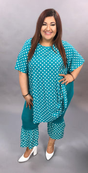 SET-A (Rocking My Dots) Jade Polka Dot Set (Top & Bottom) EXTENDED PLUS 3X 4X 5X 6X CURVY BRAND SALE!!