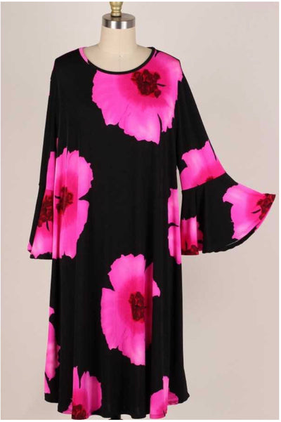 11 PQ-R {Lost In Your Eyes} Pink Black Floral Dress EXTENDED PLUS SIZE 3X 4X 5X