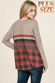19 CP-T {Heading Out} Grey With Red Black Plaid Top PLUS SIZE XL 2X 3X