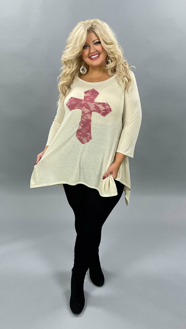 32 GT-C {Don't Cross Me} Cream Mauve Cross Detail Top PLUS SIZE XL 2X 3X