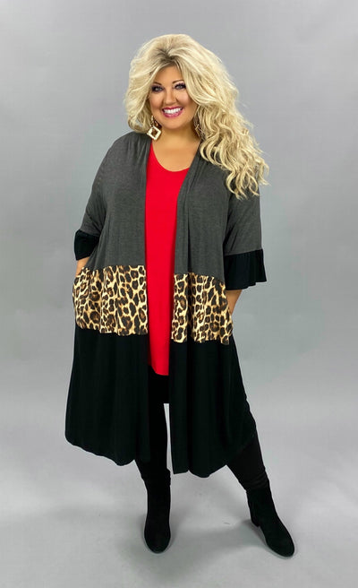 11-09 OT-G {Losing Control} Grey Brown Leopard Duster CURVY BRAND EXTENDED PLUS SIZE 3X 4X 5X 6X